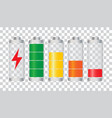 set of battery charge level indicator on isolated vector image vector image