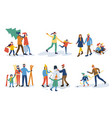 set of parents and kids outdoor isolated vector image