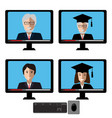 set with teachers male and female fases vector image