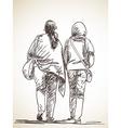 sketch two walking woman hand drawn vector image vector image
