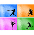 sport silhouettes on abstract halftone vector image vector image