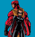 superhero couple back to back vector image vector image