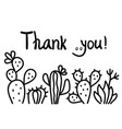 thanks card with cute cactus succulent and text vector image vector image