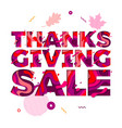 thanksgiving sale paper cut color text font for vector image vector image