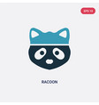 two color racoon icon from animals concept vector image vector image