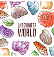 underwater world inhabitants mussel shellfish vector image