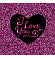 Abstract pink glittering background with heart vector image