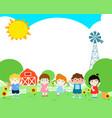 blank template happy kid poster design vector image