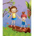 A girl and a boy in the forest vector image vector image