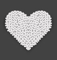big silver heart made of hearts with shadow vector image