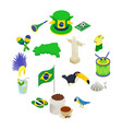 brazil isometric 3d icons vector image vector image