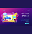 car review video concept landing page vector image vector image