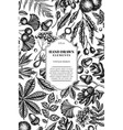 card design with black and white fern dog rose vector image