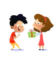 childrens birthday girl gives boy a present vector image vector image