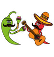 chilli peppers with instruments comics characters vector image vector image