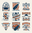 colored vintage barbershop logotypes set vector image vector image