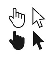computer mouse click cursor gray arrow icons set vector image vector image