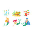 cute little mermaids and underwater world elements vector image vector image