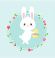 easter egg hunt poster cute rabbit invitation vector image vector image