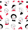 elegant seamless pattern with heads of beautiful vector image vector image