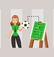 female soccer coach explaining game strategy vector image