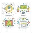 Flat line Meeting Fundraising Banking Shopping vector image vector image