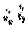 footprints people and animals big and small vector image vector image