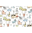 Funny Cartoon Village Domestic Animals Seamless vector image vector image