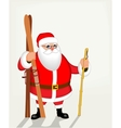Funny Santa Claus with skis poster vector image