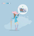 girl shopping through internet vector image vector image