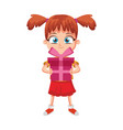 girl with gift box cartoon vector image