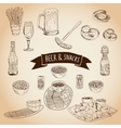 Hand drawn Beer and snacks vector image vector image