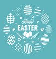 happy easter headline in circle of eggs frame vector image