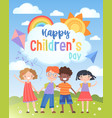 happy international children s day greeting card vector image vector image