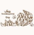 happy thanksgiving card pumpkin line art basket vector image vector image