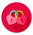 hearts padlock circle icon vector image