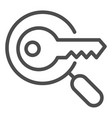 keyword search line icon magnifying glass and key vector image vector image