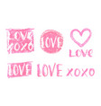 lettering set for valentines day design vector image vector image