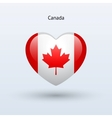 Love Canada symbol Heart flag icon vector image