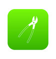 metal shears icon digital green vector image