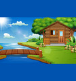 nature scene with wooden houses on the edge of the vector image