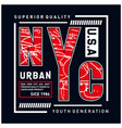 new york city typography design tee for t shirt vector image