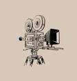 old movie camera digital sketch vector image