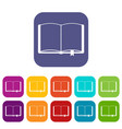 open book with bookmark icons set vector image vector image