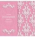 Pink Floral 3d Wedding Invitation vector image vector image