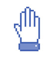 Pixel hand up icon vector image