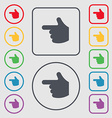pointing hand icon sign symbol on the Round and vector image