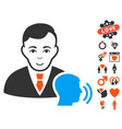 psychotherapist visit icon with love bonus vector image vector image