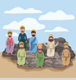 scene in desert with apostles sitting on the rocks vector image vector image
