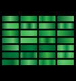 set green metallic gradients swatches vector image